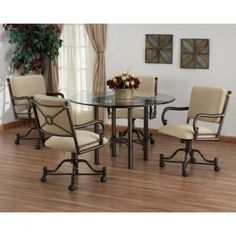 The Bullseye Swivel Tilt Caster Glass Top Dining Set Will Spoil You Comfortable Chairs Dinette