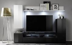 Black and white classis can be a great design solution for small apartment . Add some accessories to make it more fun http://goo.gl/Pesz71 #apartment #black #white #furniture #livingroom #tvstand #gloss #modern