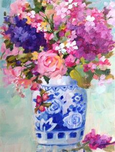 """Daily Paintworks - """"Something Blue"""" - Original Fine Art for Sale - © Libby Anderson"""