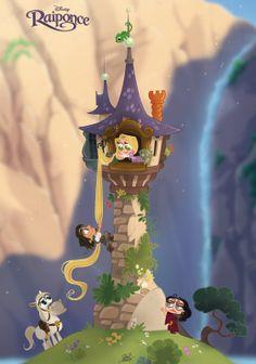 Rapunzel Chibi Disney by Kawaii Disney, Chibi Disney, Disney And Dreamworks, Disney Pixar, Punk Disney, Disney Rapunzel, Tangled Rapunzel, Cute Disney Drawings, Disney Princess Drawings