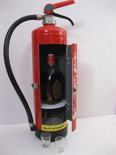 Only at Faber Work & Design Rebuilt fire extinguishers as deco items (e. Metal Working Tools, Work Tools, Metal Projects, Welding Projects, Arte Bar, Jerry Can Mini Bar, Alcohol Dispenser, Firefighter Decor, Portable Bar