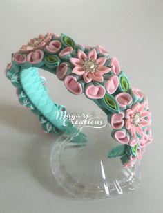 Diadema rosa, diademas kanzashi, venda de la muchacha, diadema de flores, diadema con flores, niño venda, venda de la muchacha de flor, venda duro-a.