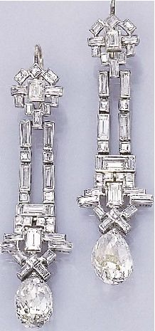GABRIELLE'S AMAZING FANTASY CLOSET | Art Deco Diamond Ear Pendants circa 1925 | You can see the Rest of the Outfit and my Remarks on this board.  -  Gabrielle