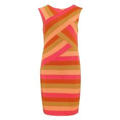 I like the concept of this dress with different colors...  Ted Baker CALIGO - Striped fitted dress found on Polyvore