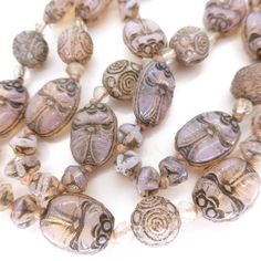 VINTAGE DECO CZECH EGYPTIAN REVIVAL NEIGER SCARAB GLASS BEAD NECKLACE RARE