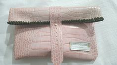 Wildstar Clutch Bags handmade folding Clutch, embossed Leather, pink Clutch, salmon pink 2017 £49.99