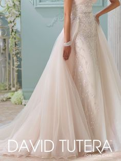 Detachable train available with style 116228, Edan, from the Spring 2016 David Tutera for Mon Cheri Collection. Click for more information.