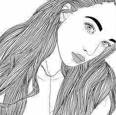 dessins de fille tumblr  | noir, noir et blanc, dessins, fille, filles, grunge, cheveux, lèvres ...