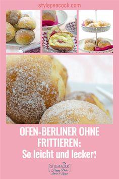 Das weltbeste Berliner Pfannkuchen, Kreppel oder Krapfen Rezept, egal. wie man sie nennt: Bei mir gibt's die fettarme Variante ohne Frittieren. Einfach zu machen, mit besonderem Vanille-Himbeer-Aroma und so lecker. Mit genauer Anleitung für Hefeteig. Nachbacken und genießen, ob zum Kaffee, Party, Karneval / Fastnacht oder zu jeder anderen Jahreszeit! #kreppel #ofenberliner #berlinerpfannkuchen #krapfen #backrezept #berliner #fastnacht #karneval #vanille #himbeer #raspberry #hefeteig Lifestyle Blog, Hamburger, Bread, Challah, Cake Cookies, Waffles, Finger Food, Brot, Baking
