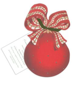 Ornament with Plaid Bow Die-Cut Invitations