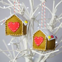 set of two gingerbread houses by miss shelly designs #Christmas