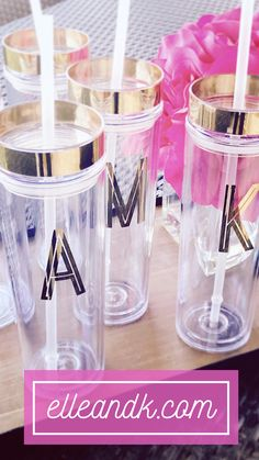 Gold Foil Initial Monogram Skinny Tumbler - elle & k boutique Cute Coffee Mugs, Cute Mugs, Coffee Cups, Bachelorette Party Cups, Deco Foil, Tumbler Designs, Acrylic Tumblers, But First Coffee, Tumbler Cups