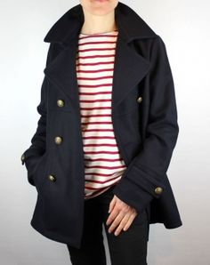 Women's Pea Coat, Navy Wool Double Breasted Reefer Jacket Mat de Misaine UK - THE NAUTICAL COMPANY