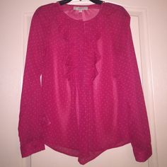 Red blouse Comes out pink in the photos, but it's a red blouse with gold tiny stars (look like polka dots from afar), button down with cute trim at the top LOFT Tops Blouses