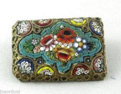 Italian Micro Mosaic Oblong Brooch