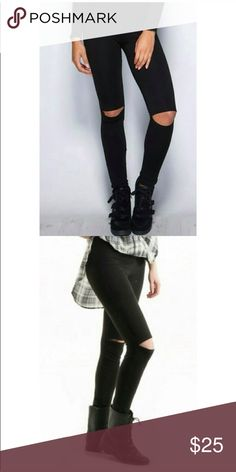 HOT black Cutout knee cotton leggings-NWT! HOT black Cutout knee cotton leggings-NWT! These always sell out super fast! No offers-please. I offer a bundle discount so you can get a better price with these leggings when you bundle with another item. Fashionomics Pants Leggings