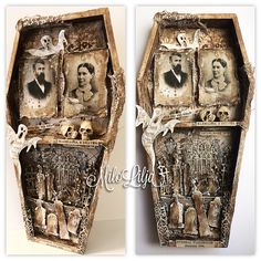 """This is some kind of """"coffin- office- graveyard"""" I love love love this style! Skulls, vintage, old, coffin, spooky, Halloween. ☠️❤️ This coffin and decorations, papers, stencils, text stickers, skull, ghost die- everything is @tim_holtz for @myrustycrowninspiration The vintage photos are from Tim Holtz paper stack """"Halloween"""". LOVE THEM!! . Picture 1: The whole coffin, done. . . Picture 2 & 3: This is how I prepared the inside before I started decorate. Stencil and overly papers and cheese…"""