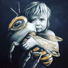 Protecting the honey bee is vital for our planet. Spread the message! Artwork by: Autumn Skye Art I Love Bees, Bild Tattoos, Bee Art, Save The Bees, Bees Knees, Bee Keeping, Queen Bees, Fine Art Paper, Fantasy Art