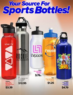 New from Unforgettable Promotions! Your Source for Sports Bottles!  Call (941) 637-0133 to place your order.