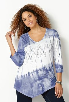 Tie Dye Embellished Asymmetrical Top-Plus Size Top-Avenue