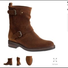 Cognac suede J Crew Biker Boots Excellent condition, only wore a few times. Cognac/rust suede Biker boot, with buckle and brass hardware. Fits true to size, but if you have a very wide foot, might not be the best boot for you. These look great with everything. J. Crew Shoes