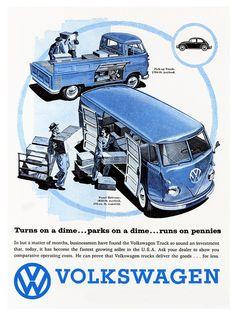 Vintage Ads Art - Volkswagen Truck by Nomad Art And Design Volkswagen Bus, Volkswagen Transporter, Vw Camper, T3 Vw, Vw Vintage, Vintage Trucks, Combi T1, Auto Union, Vw Cars
