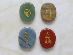 Set of 4 Mixed Reiki Gemstones -reiki attunement-symbols carved and filled with gold leaf-highly polished-velvet bag- Merlins Cave Shop by MerlinsCaveShop on Etsy