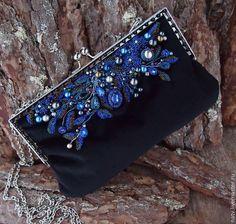 Evening bag with bead embroidery   Купить Северная ночь - черный, клатч, сумочка, вечерняя сумочка, украшение, бархат, бисер, хрусталь
