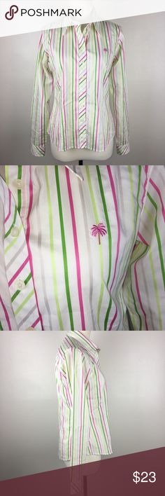 Lilly Pulitzer Green Pink Striped Long Sleeve Top Size 6. Button-down Blouse. Excellent used condition, there is a small spot on the underside of 1 of the sleeves (see all photos.) No trades. Measurements: Length - 24.5in. Armpit to armpit - 19in. Hips - 19.5in. Sleeves - 24.5in. Lilly Pulitzer Tops Button Down Shirts