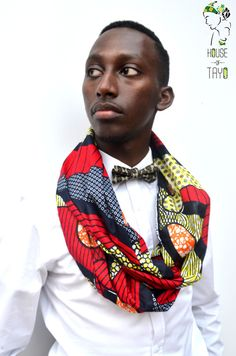 House of Tayo Wax print Bowtie and Snood. Nigeria