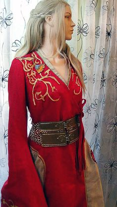 Cersei Lannister  Red Gown  Embroidered  by SeekerCosplayShop, $615.00