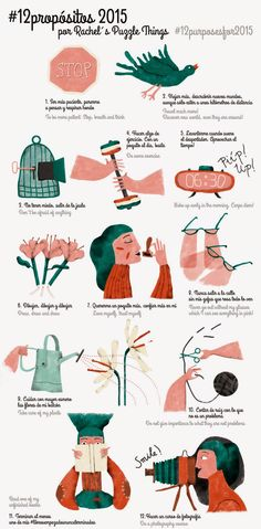 Illustration for a twitter initiative called 12 purposes for the new year. Ilustración. Propósitos para el año nuevo. Rachel´s Puzzle Things - rachelspuzzlethings