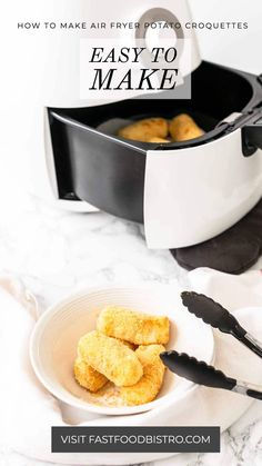 The perfect appetizer or side dish. Air Fryer potato croquettes contain hardly any fat and have a great taste. A crunchy Air fried crust. Fast and easy recipe that you have on the table in no time. Want to try? Visit fastfoodbistro.com for the full recipe and instructions