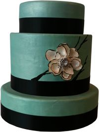Teal and Black Modern Wedding Cake Created by The Wedding Cake Shoppe Seen on Rich Bride Poor Bride