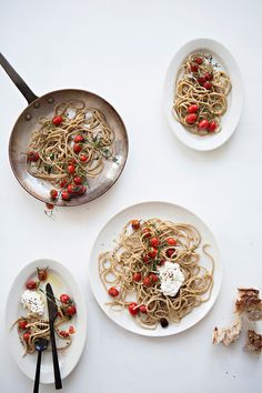 SUMMER PASTA WITH BLISTERED TOMATOES, OLIVE OIL,   RICOTTA