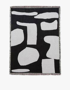 From Slowdown Studio in collaboration with German artist Anna Bierler, a throw blanket in Black and Grey. Fringe detailing. Made from cotton grown, spun and woven in North Carolina.   • 100% cotton • Made in USA