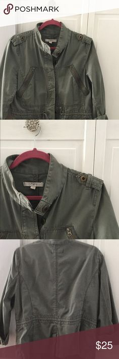 Loft Army Green Jacket Detailed with zippers and drawstring to pull in at waist. Hits at the hip. LOFT Jackets & Coats Utility Jackets