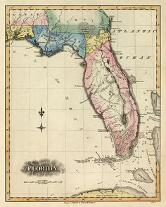 Antique map of Florida   Map of Florida  state  by AncientShades, $30.00