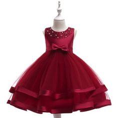 O menor preço Chic Borgonha Formal Vestido Da Menina Flor 2