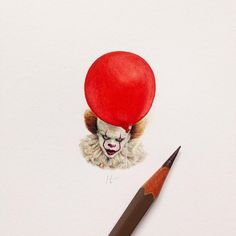 IT Stephen King Pennywise Clown. Miniature Tiny Drawings. By Claudia Maccechini.