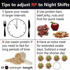 #Repost @rpstrength (@get_repost) Tag a friend that might struggle with night shifts and their diets. # Here are some simple tips to stick to your diet while wirking overnight or crazy hours. # Space your meals out a bit more. This means more like every 4-5 hours instead of 2-4 hours. # Keep portable snacks with you like nuts jerky protein bars etc. Simple and quick to eat = can stick to easier while on the clock. # Use casein protein. It's great for extended periods of time where you simpl Working Night Shift, Night Shift Nurse, Healthy Food Choices, Healthy Snacks, Healthy Recipes, Casein Protein, Protein Bars, Best Time To Eat, Eating Schedule