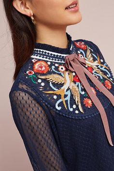 Slide View: 2: Diti Embroidered Blouse