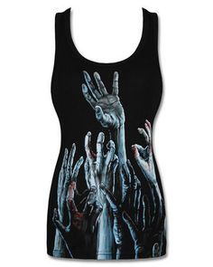 Join the Survival Crew in this new womens fitted scoop neck tee shirt in quality stretchy ribbed cotton, emblazoned with awesome 'Zombie Hands' print to the front and back!