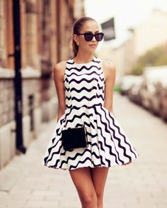 Summer Black Waves White Sleeveless Dress