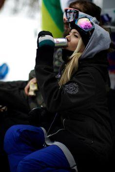Board, Snow. redbull. Sweatshirt. Blue pants. Beanies. Blonde hair. I love this pic