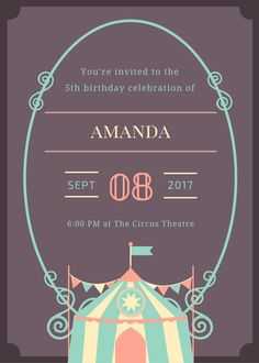 Circus birthday party invitation Printable by ItsallDigitaltome