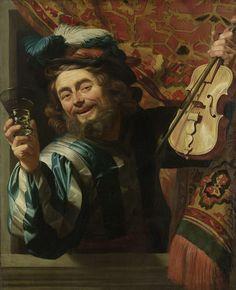 Gerard van Honthorst | The Merry Fiddler, Gerard van Honthorst, 1623 | Een vrolijke vioolspeler die een berkenmeier vasthoudt. Een lachende man leunt uit een venster waarvoor een Oosters kleed hangt. In de rechterhand houdt een berkenmeier met wijn omhoog, in de linkerhand een viool met strijkstok. Op het hoofd een hoed met pluimen.
