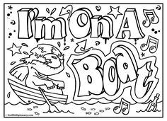 Im On A Boatprintable Room Sign Coloring Page