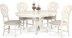 Dining Room Furniture - Charleston Round Dining Table and 4 Scroll-Back Side Chairs - White Living Room Seating, Dining Room Sets, Dining Room Furniture, Dining Room Table, Kitchen Tables, Kitchen Nook, Kitchen Sets, Dining Area, Kitchen Decor