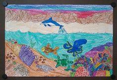 2nd Grade Art. Underwater Drawing.   Art Teacher Jennifer Lipsey Edwards